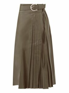 Dodo Bar Or - Estelle Pleated Leather Midi Skirt - Womens - Khaki