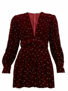 Dodo Bar Or - Malenia Crystal Embellished Velvet Mini Dress - Womens - Burgundy