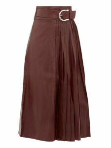 Dodo Bar Or - Estelle High Rise Belted Leather Kilt Midi Skirt - Womens - Burgundy