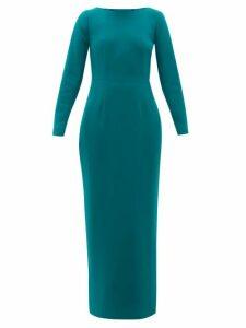 Rebecca De Ravenel - Jamie Scoop Neck Wool Crepe Maxi Dress - Womens - Dark Green