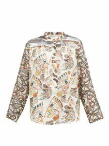 La Prestic Ouiston - Romee Seeing You Print Silk Twill Blouse - Womens - Ivory Multi