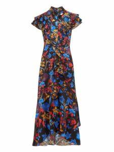 Peter Pilotto - Ruffled Cap Sleeve Silk Midi Dress - Womens - Navy Multi