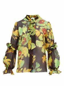 Peter Pilotto - Floral Print Silk Georgette Blouse - Womens - Brown Multi