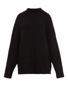 Raey - Crew Neck Basketweave Wool Sweater - Womens - Black