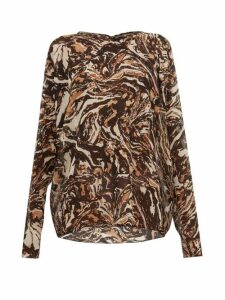 Raey - Raglan Sleeve Marbled Animal Print Silk Top - Womens - Brown Print