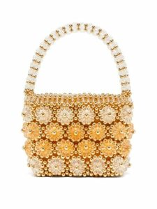 Shrimps - Shelly Beaded Floral Handbag - Womens - Gold Multi