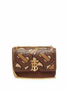 Burberry - Tb Monogram Appliqué Leather Cross Body Bag - Womens - Brown Multi