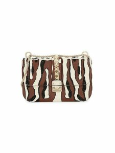 Abstract-Print Embellished Leather Crossbody Bag