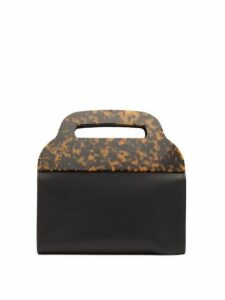 Montunas - Tiro Leather And Tortoiseshell Acetate Bag - Womens - Black