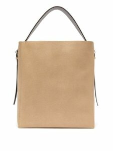 Valextra - Medium Grained Leather Tote Bag - Womens - Beige