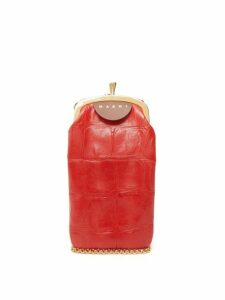 Marni - Top Frame Crocodile Effect Leather Bag - Womens - Red