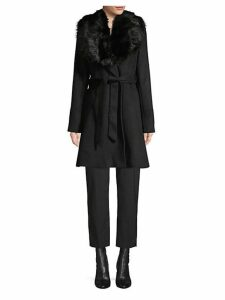 Faux Fur-Trim Wool-Blend Wrap Coat