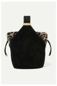 Bienen-Davis - Kit Mini Leopard-print Calf Hair-trimmed Suede Bucket Bag - Black