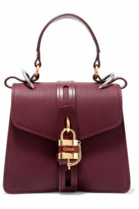 Chloé - Aby Small Textured And Smooth Leather Tote - Burgundy
