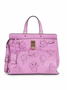 Floral Embellished Leather Top Handle Bag