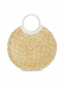 Circle Straw Top-Handle Bag