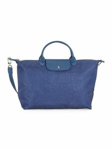 Large Leather-Trimmed Top Handle Bag