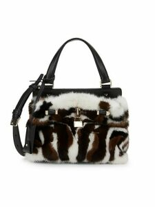 Small Mink Fur & Leather Top Handle Bag