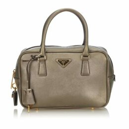 Prada Silver Saffiano Leather Bauletto Handbag