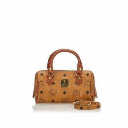 MCM Brown Visetos Leather Handbag