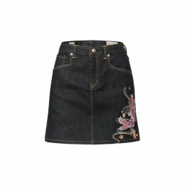 Evisu Carp And Seagull Embroidered Denim Skirt