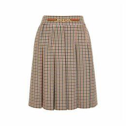 Tory Burch Plaid Checked Twill Skirt