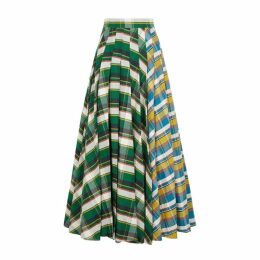 A.W.A.K.E MODE Duncan Checked Cotton Maxi Skirt