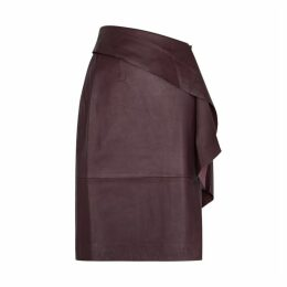 Gestuz Aliah Plum Leather Midi Skirt