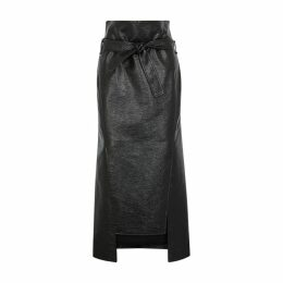A.W.A.K.E MODE Susan Black Patent Faux Leather Midi Skirt