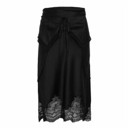 Alexander Wang Black Layered Silk-satin Skirt