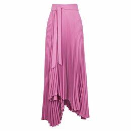 A.W.A.K.E MODE Doric Pink Pleated Midi Wrap Skirt