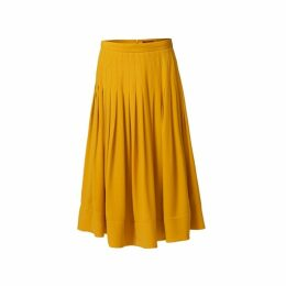 WtR Sky Pleated Yellow Silk Midi Skirt