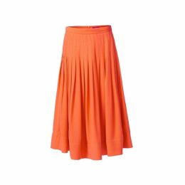 WtR Sky Pleated Orange Silk Midi Skirt