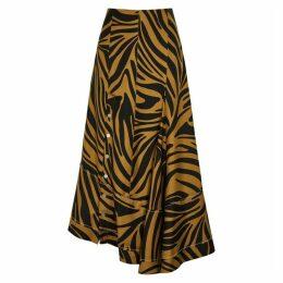 3.1 Phillip Lim Caramel Zebra-print Silk Midi Skirt