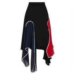 JW Anderson Black Panelled Silk Midi Skirt