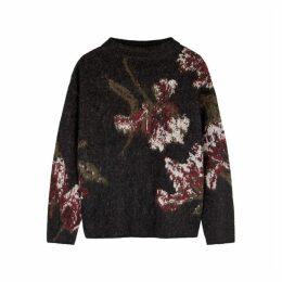 Vince Charcoal Floral-intarsia Jumper