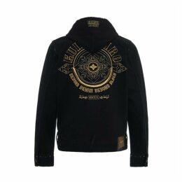 Evisu Hooded Denim Jacket With Kamon Embroidery