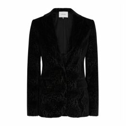 Frame Denim Black Snake-effect Velvet Blazer