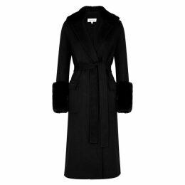 Beau Souci Black Fur-trimmed Wool-blend Coat