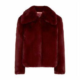 Sies Marjan Felice Burgundy Faux Fur Jacket