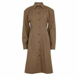 Acne Studios Brown Checked Shirt Dress