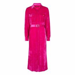 Sies Marjan Imogene Fuchsia Corduroy Midi Shirt Dress