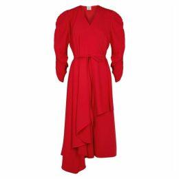A.W.A.K.E MODE Red Puff-sleeve Wrap Dress