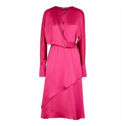 Palmer//harding Mirror Fuchsia Draped Satin Dress