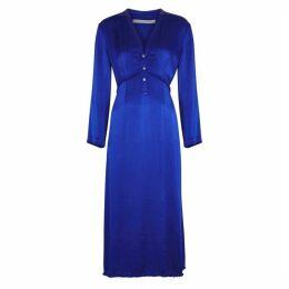 RAQUEL ALLEGRA Camille Blue Satin Midi Dress