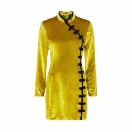 De La Vali Ginger Gold Velvet Mini Dress