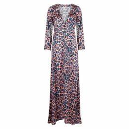 WEST SEVENTY NINE Willow Leopard-print Satin Maxi Dress