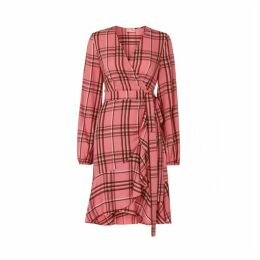 Kitri Jennifer Pink Check Wrap Dress