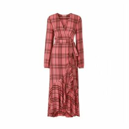 Kitri Anissa Pink Check Wrap Dress