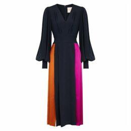 Roksanda Teruko Navy Panelled Silk Midi Dress